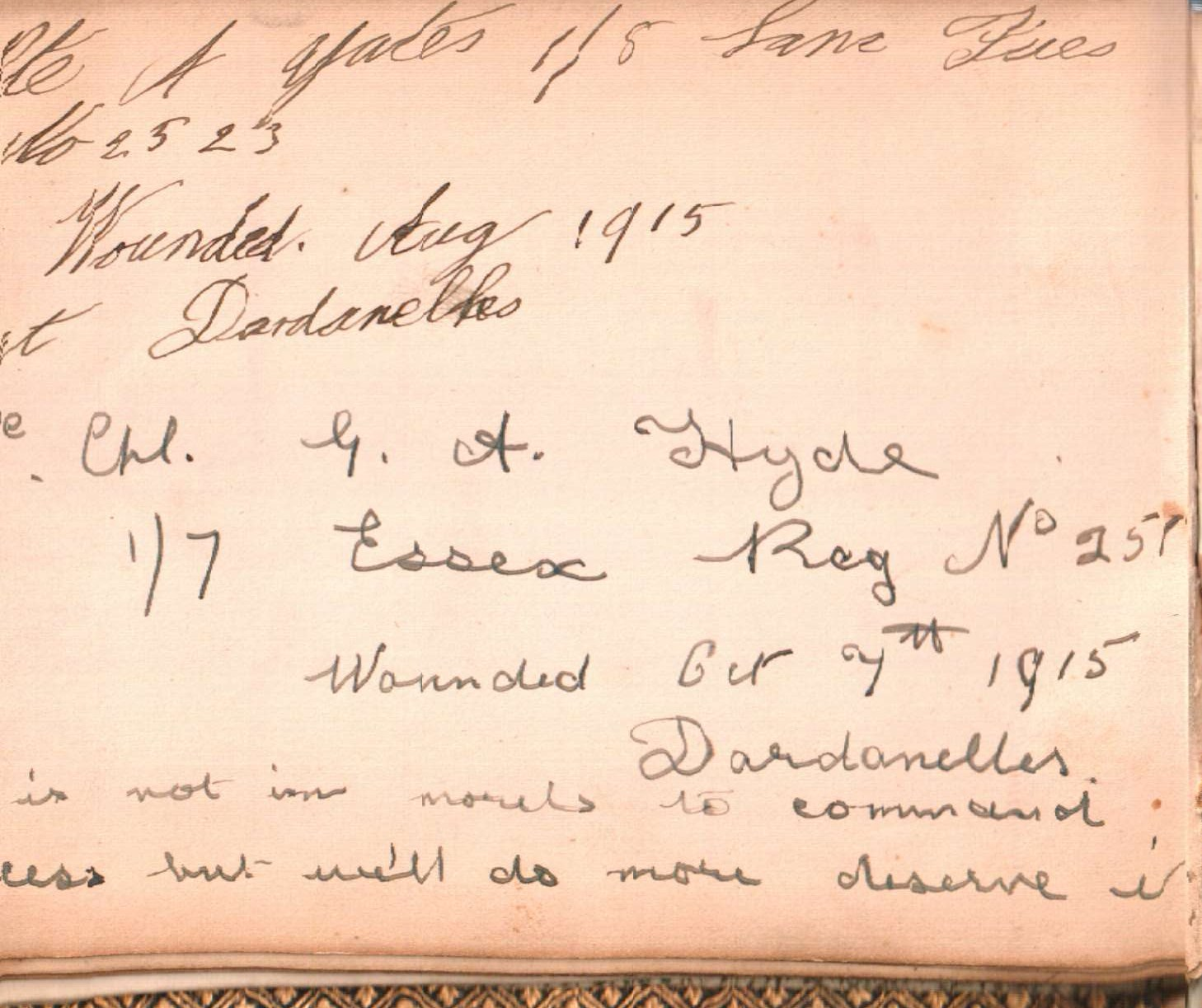 example of journal entry from canadian soldier ww1