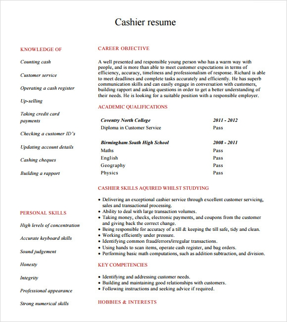 type of activity for example cashier customer service