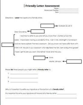 friendly letter example 4th grade