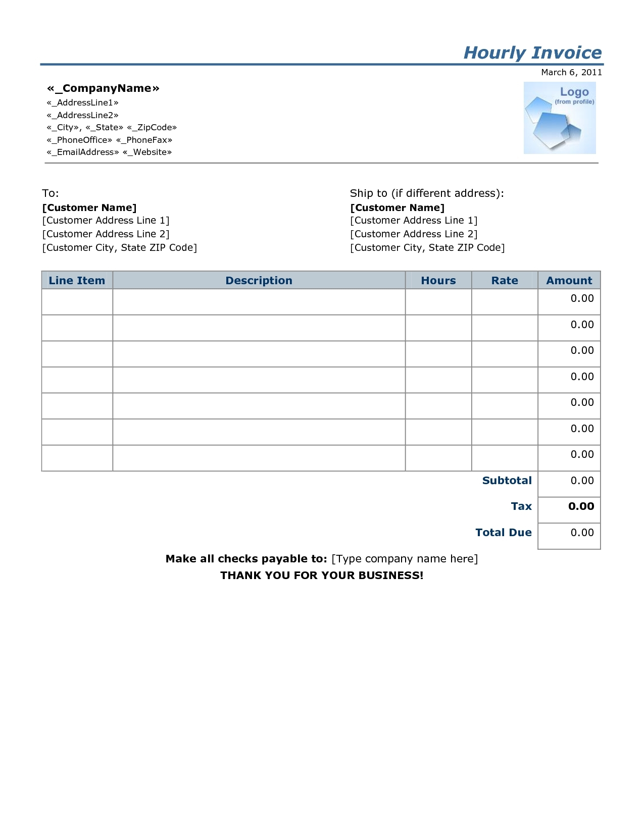 invoice for hours worked example