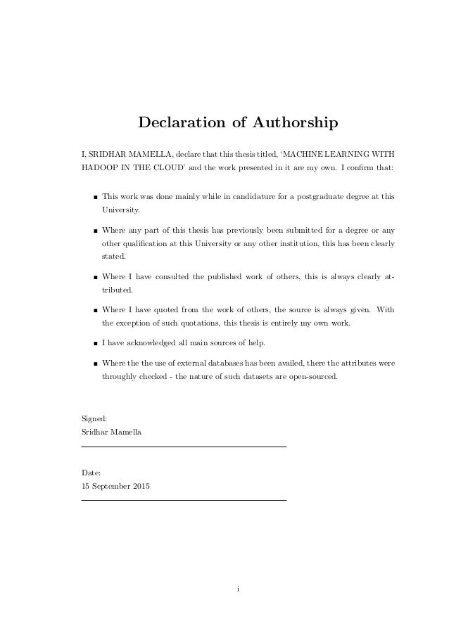 declaration of own work example