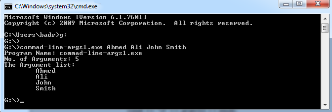 c command line arguments string example