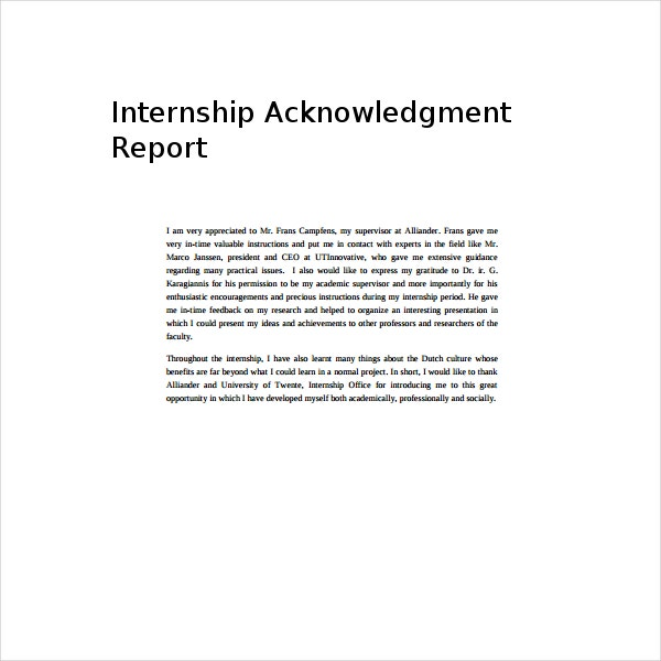 example of acknowledgement for report