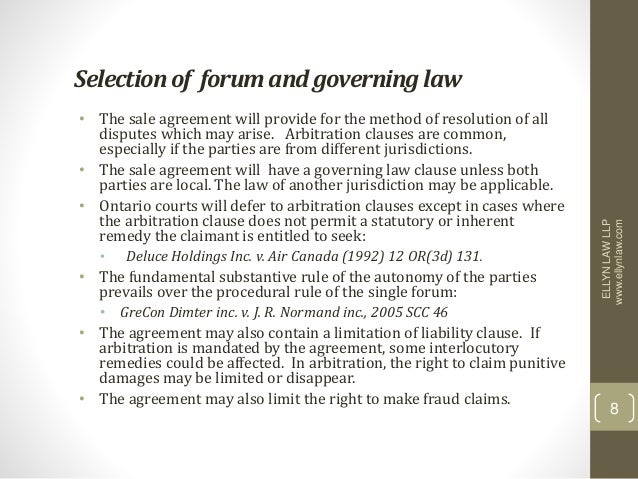 governing law clause example ontario