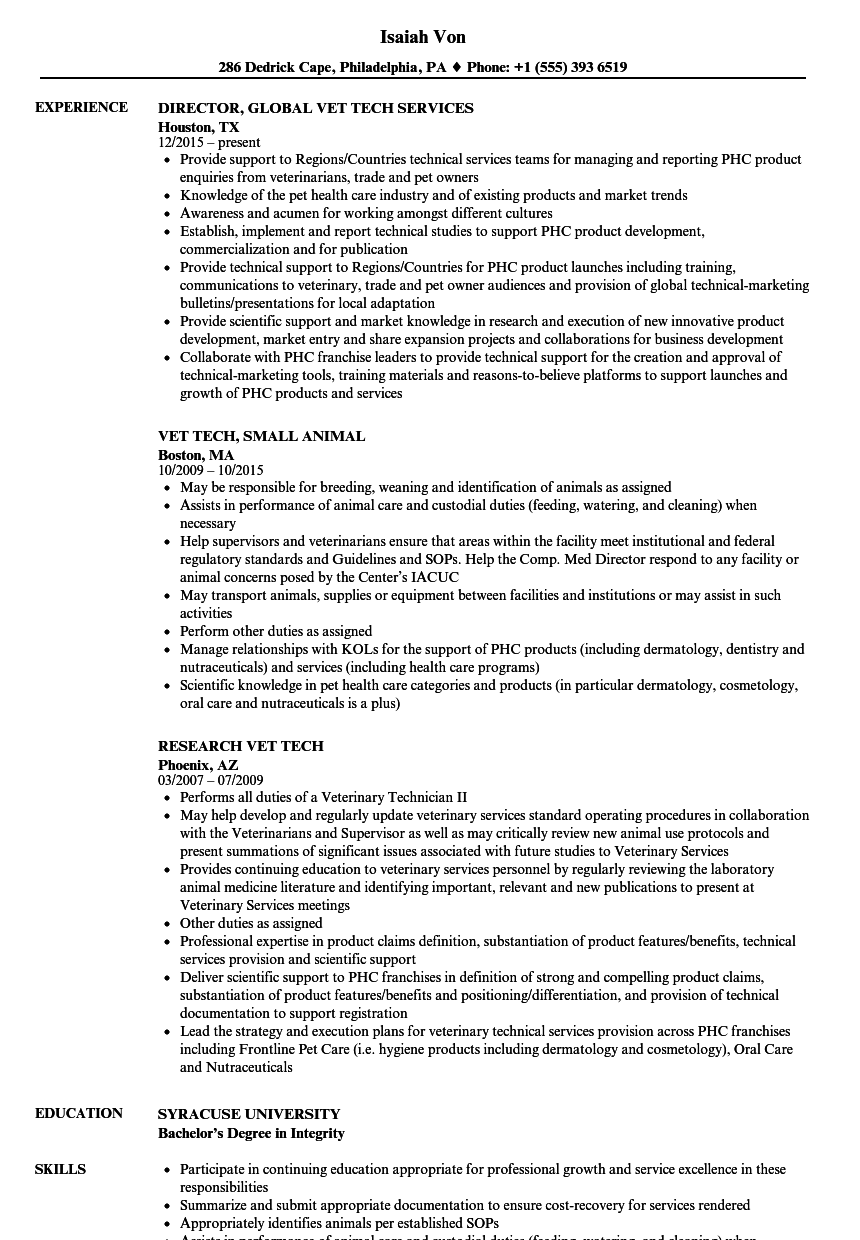 example of physical skills animal care resume