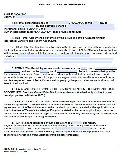 example of rent lease agreement