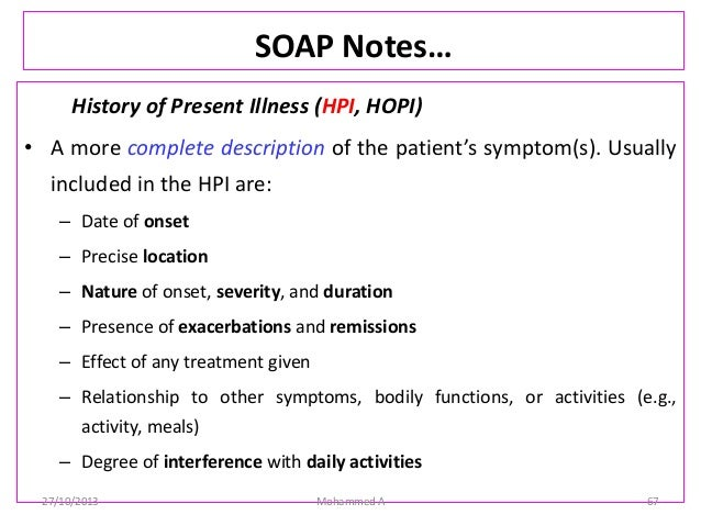 how to write a soap note example