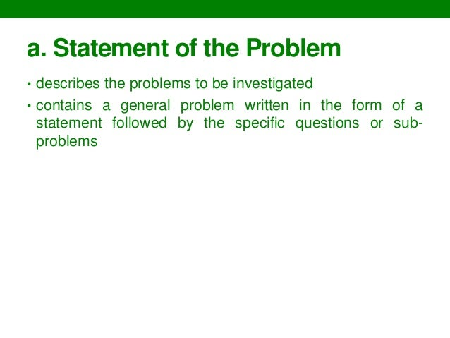 example of statement of the problem in research study