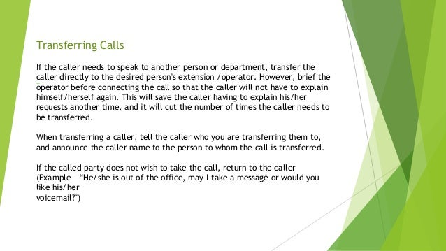 example of transferring a call