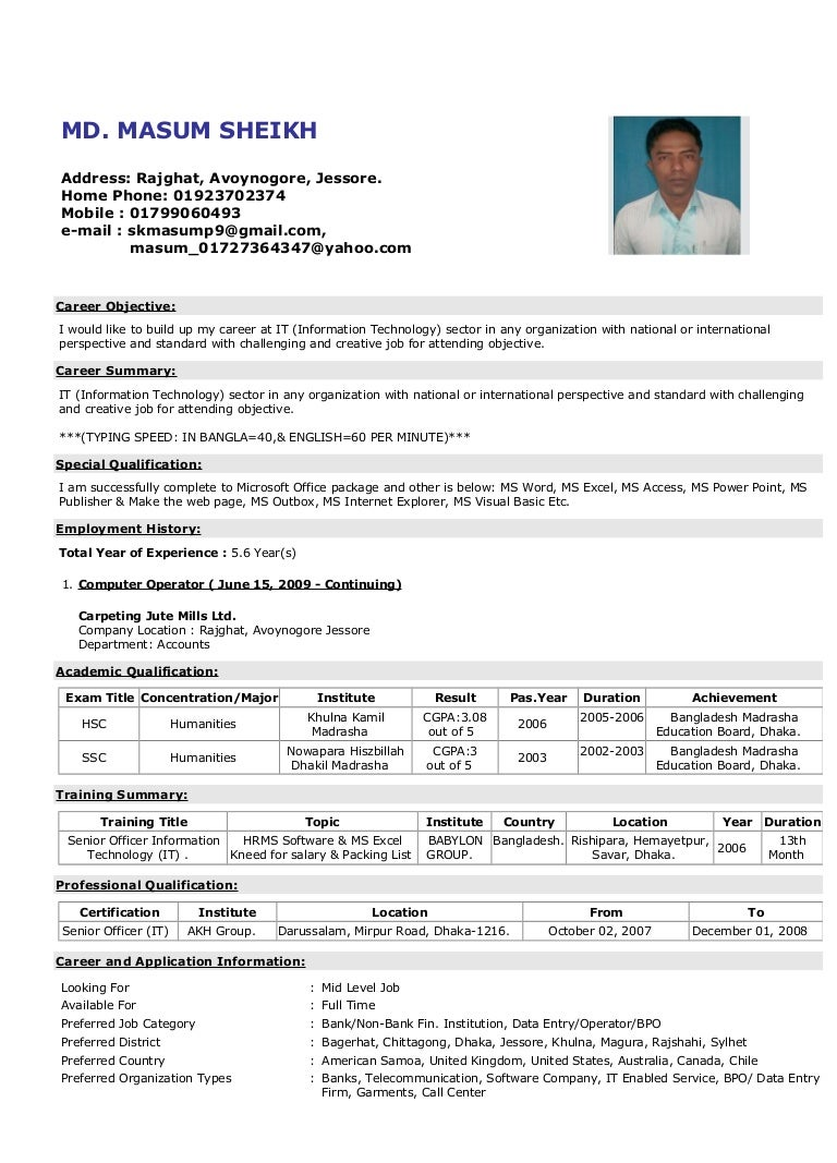 an example of a cv for a job