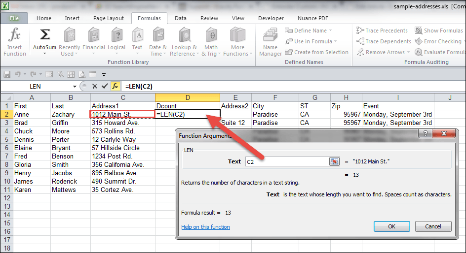 find function in excel 2007 with example