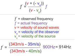 doppler effect two objects moving towards each other example