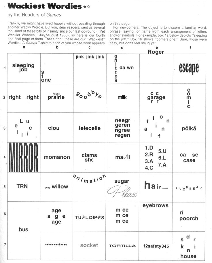 example of rebus puzzle with answers