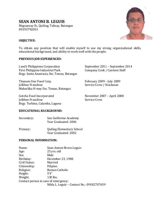 example of resume for job application pdf