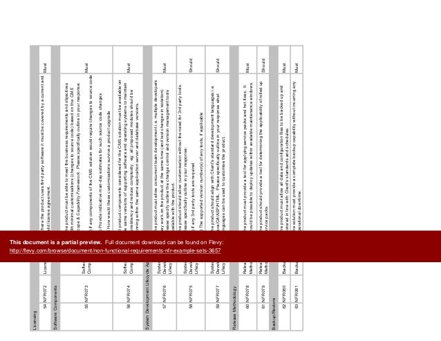 non functional requirements example document