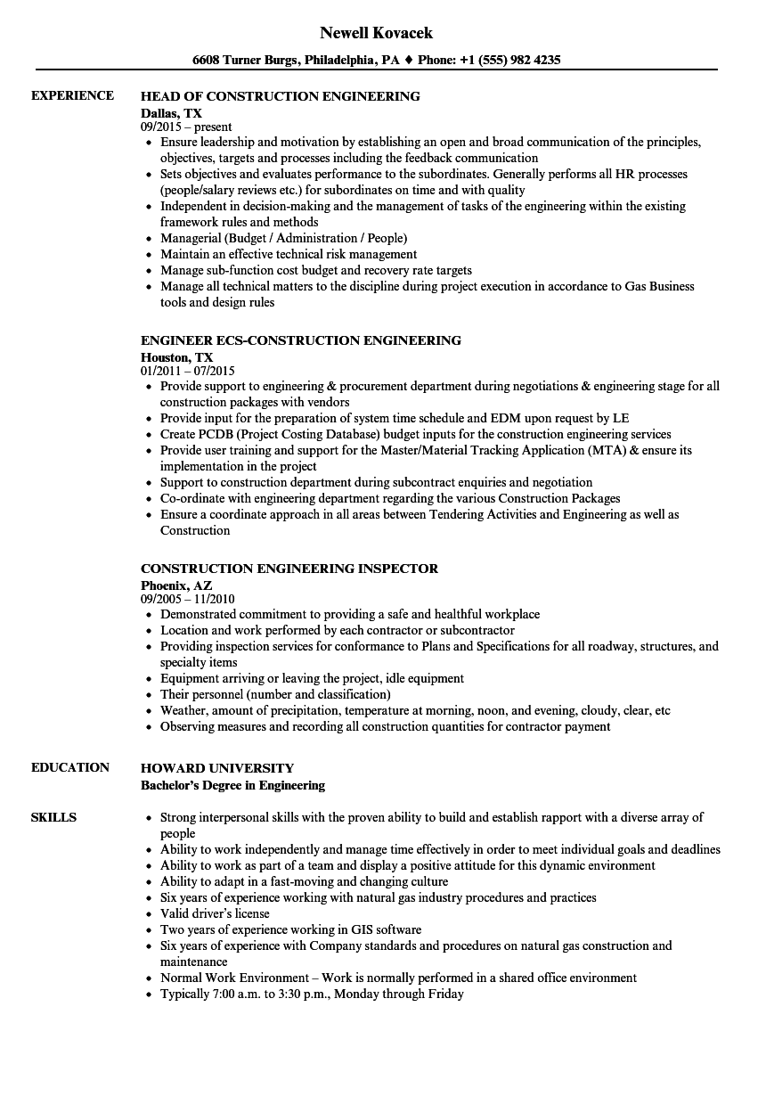 professional engineering work experience example