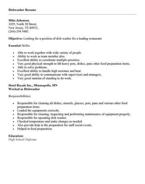 resume example for factory work